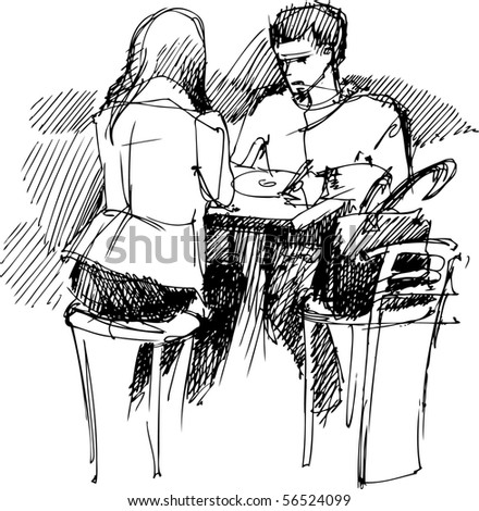 pair of youths at the table - stock vector