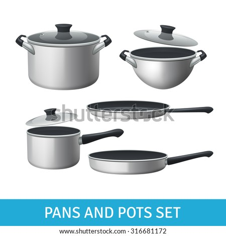 Pans and pots realistic set with frying pan saucepan and bowl isolated vector illustration  - stock vector