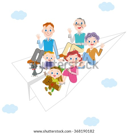 paper airplane and three-generation family