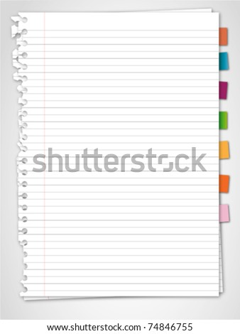 Paper and reminder note - stock vector