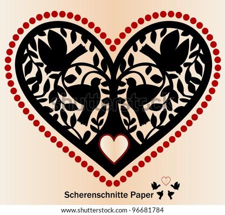 Paper cutout Scherenschnitte birds tree and heart - stock vector