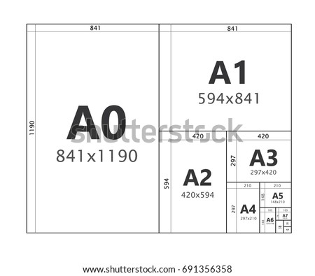 paper size format series a a 0 stock vector 691356358 shutterstock. Black Bedroom Furniture Sets. Home Design Ideas