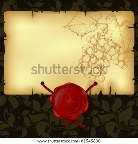 paper with wax seal with branch of grapevine - stock vector