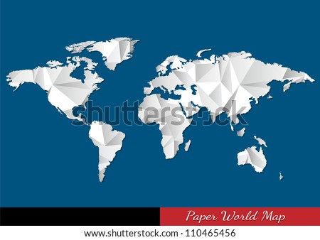 Paper World map in origami style. Vector eps10 - stock vector