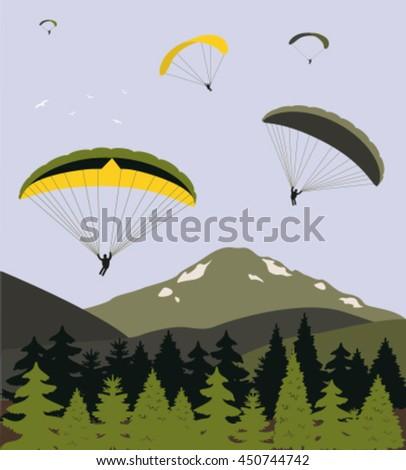 Paragliding over the mountains. Vector - stock vector