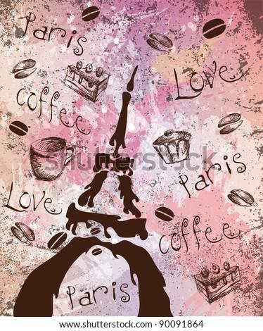 Paris, coffee, love - stock vector