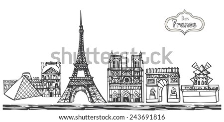 01.11.2014.Paris panorama.Hand drawn Retro doodle sketchy .French words.Horizontal  vector illustration.Famous landmarks:Notre Dame,Eiffel tower,Arc de Triomphe,Moulin Rouge,Louvre Palace.Background. - stock vector