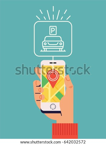 'Parking Near Me' vector concept layout. Flat design illustration with hand holding a phone with a city map showing available car parking lot.