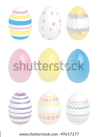 9 pastel colored easter eggs - stock vector