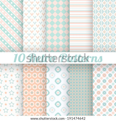 10 Pastel retro different vector seamless patterns (tiling). Endless texture can be used for wallpaper, web page background, surface textures. Set of geometric ornaments. Orange, blue and white colors - stock vector