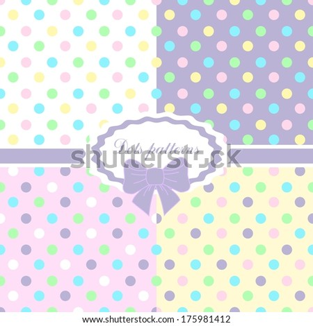 4 patterns. Polka dots set in Easter colors - stock vector