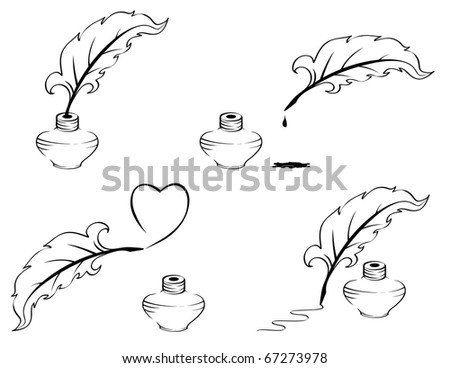 Pen and inkwell. - stock vector
