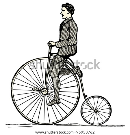 "Penny farthing - vintage engraved illustration - ""Dictionnaire encyclopedique universel illustre"" By Jules Trousset - 1891 Paris"