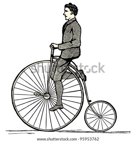 """Penny farthing - vintage engraved illustration - """"Dictionnaire encyclopedique universel illustre"""" By Jules Trousset - 1891 Paris - stock vector"""