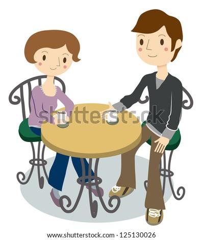 2 people break in the cafe - stock vector