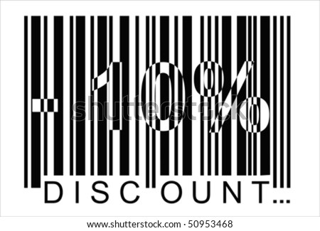 -10 percent discount, bar code ,  Isolated over background and groups, vector ILLUSTRATION