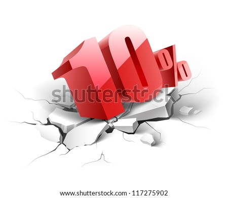 10 percent discount icon on white background - stock vector