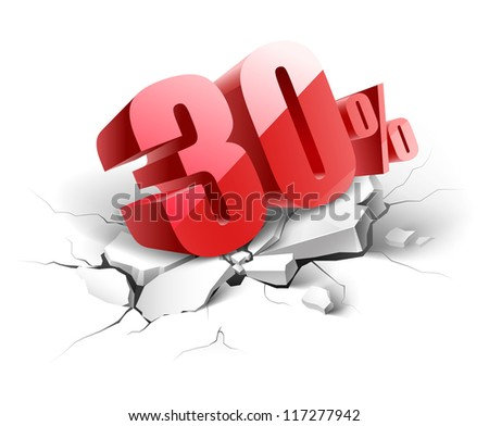 30 percent discount icon on white background - stock vector