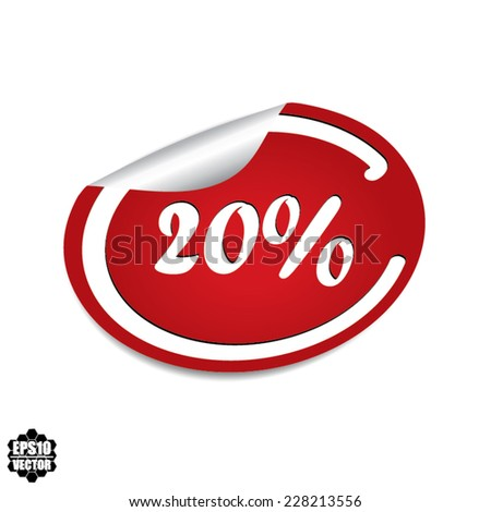 20 percent discount label on white background - Vector. - stock vector