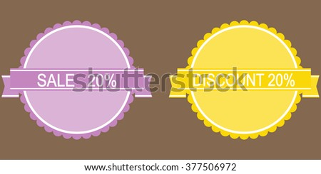 10 percent discount lilac and yellow button  - stock vector