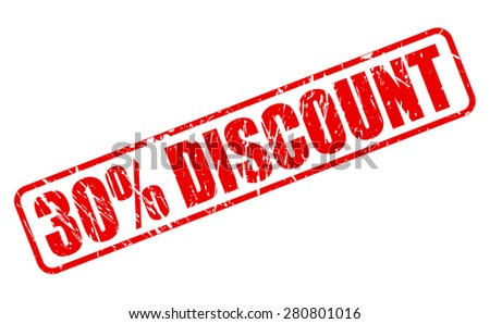 30 percent discount red stamp on white - stock vector