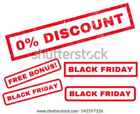 0 Percent Discount rubber seal stamp watermark with additional design elements for Black Friday offers. Vector red stickers. Text inside rectangular banner with grunge design and dust texture.