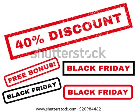 40 Percent Discount rubber seal stamp watermark with bonus images for Black Friday sales. Text inside rectangular shape with grunge design and scratched texture. Vector red and black signs.