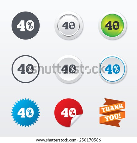 40 percent discount sign icon. Sale symbol. Special offer label. Circle concept buttons. Metal edging. Star and label sticker. Vector - stock vector