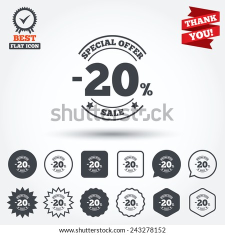 20 percent discount sign icon. Sale symbol. Special offer label. Circle, star, speech bubble and square buttons. Award medal with check mark. Thank you ribbon. Vector - stock vector