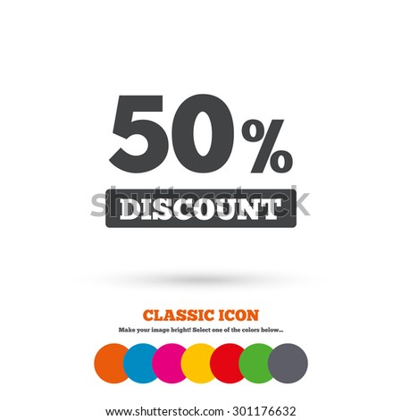 50 percent discount sign icon. Sale symbol. Special offer label. Classic flat icon. Colored circles. Vector - stock vector