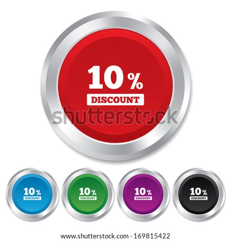 10 percent discount sign icon. Sale symbol. Special offer label. Round metallic buttons. Vector - stock vector