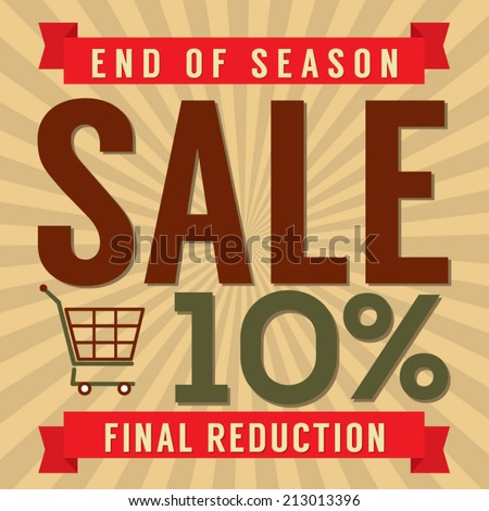 10 Percent End of Season Sale Vector Illustration