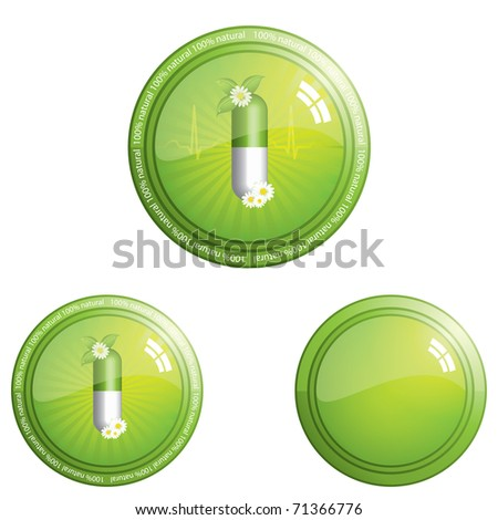 100 percent herbal pills button icon - design element