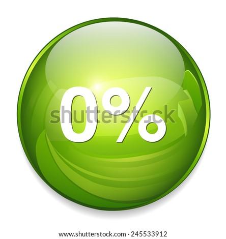 0 percent icon - stock vector
