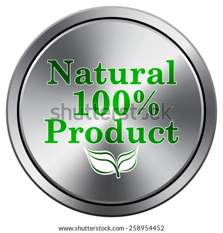 100 percent natural product icon. Internet button on white background. EPS10 Vector.  - stock vector