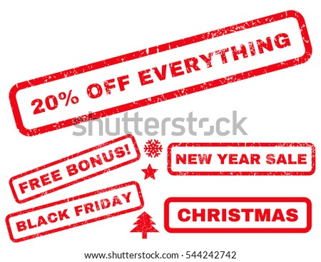 20 Percent Off Everything rubber seal stamp watermark with additional banners for Christmas and New Year offers. Text inside rectangular shape with grunge design and unclean texture.