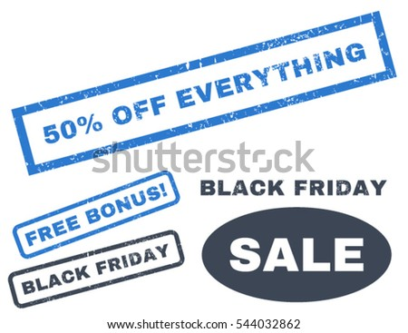 50 Percent Off Everything rubber seal stamp watermark with additional images for Black Friday sales. Vector smooth blue signs. Caption inside rectangular shape with grunge design and dirty texture.