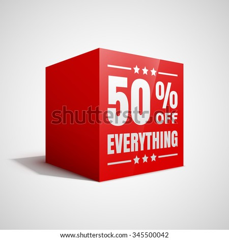 50 percent off everything sale red cube. - stock vector
