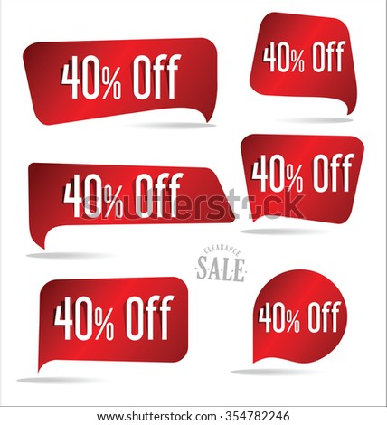 40 percent off red sticker collection - stock vector