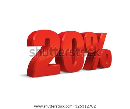 20 percent off, sale background, object 3D. Eps10 Vector.