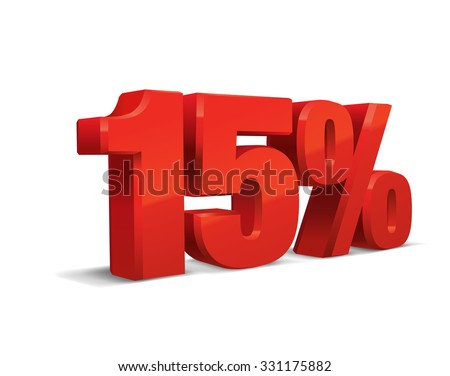 15 percent off, sale background, object 3D. Eps10 Vector. - stock vector
