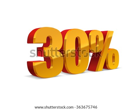 30% percent off, sale background, red-golden-yellow object 3D. Eps10 Vector.