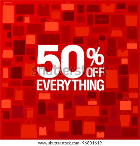 50 percent off sale background with shopping bags pattern. - stock vector