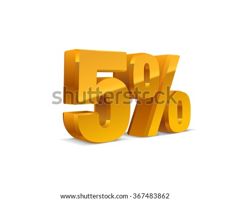 5% percent off, sale white background, golden-yellow object 3D. Eps10 Vector.