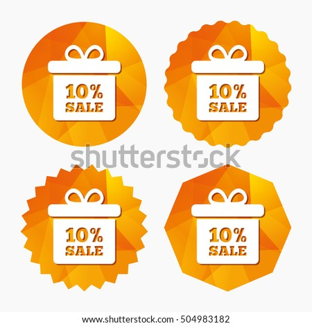 10 percent sale gift box tag sign icon.