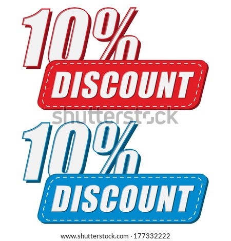 10 percentages discount in two colors labels, business shopping concept, flat design, vector - stock vector