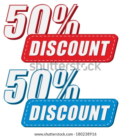 50 percentages discount in two colors labels, business shopping concept, flat design, vector - stock vector
