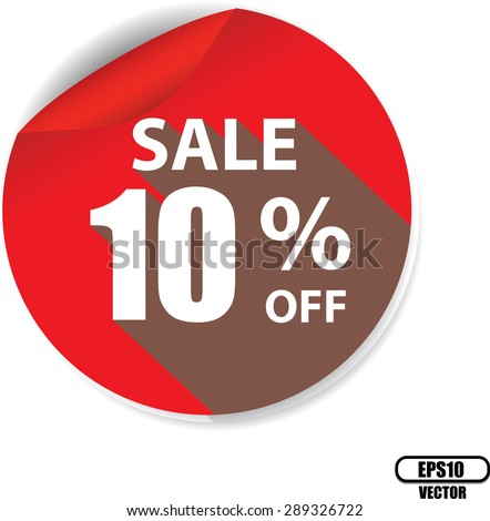 10 percentages discount red circle label, sticker, tag, sign and icon banner business concept - Vector illustration. - stock vector