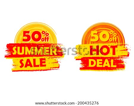 50 percentages off summer sale and hot deal banners - text in yellow and orange drawn labels with sun symbols, business seasonal shopping concept, vector - stock vector