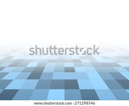 Perspective blue and white grid. Checkered surface. Vector illustration. - stock vector